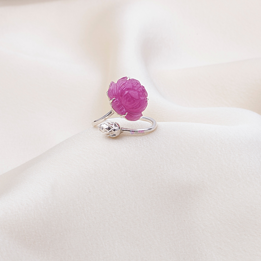 Lotus Ruby Ring